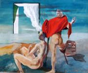 Francis Bott, sureale Szene, Mischtechnnik auf Karton,1939, 65cm x 53cm, Preis auf Anfrage